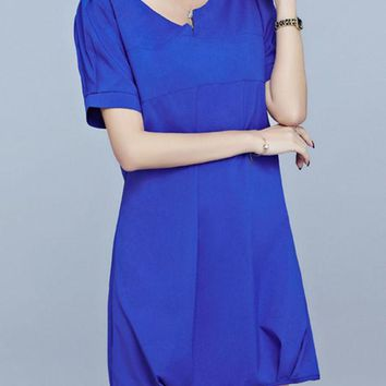 Casual Split Neck Plain Cotton/Linen Shift Dress