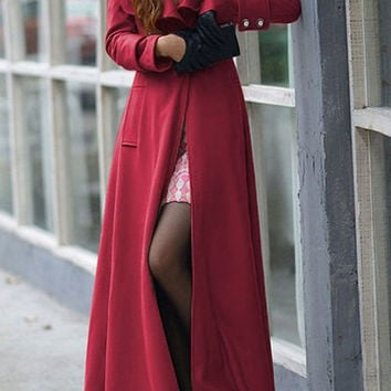 Turn-Down Collar Tunic Buttoned Maxi Coat