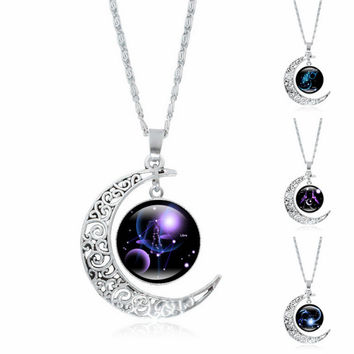 Fashion Jewelry Choker Necklace Glass Galaxy Lovely necklaces & pendants Silver Chain Moon Necklace  1085