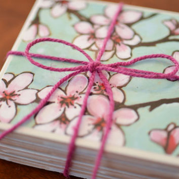 Water Color Cherry Blossom Coasters, watercolor coasters, cherry blossom, watercolor, japanese