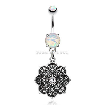 Antique Mandala Flower Iridescent Sparkle Belly Button Ring (White)