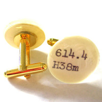 Men's Cuff Links Gold Plated Dewey Decimal Vintage Card Catalog