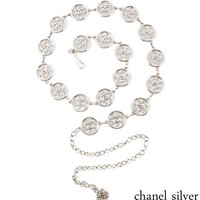 Chanel Metal Waist Chain Dress with Accessories Silver