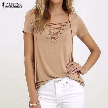 ZANZEA Women 2018 Summer Sexy V Neck Blouses Short Sleeve Casual Hollow Out Lace Up Solid Shirts Plus Size Blusas Tee Tops