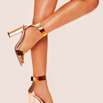 Iridescent Ankle Strap Gold Chunky Heels