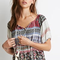 Striped Paisley Peasant Top