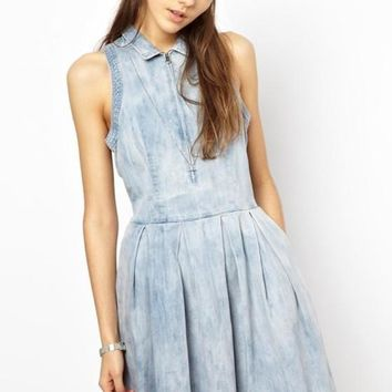 New Women Blue Pleated Zipper Turndown Collar Sleeveless Homecoming Cute Denim Dress