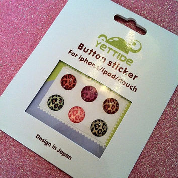 Leopard Print Home Button Stickers for iPhones and by JMxSweets