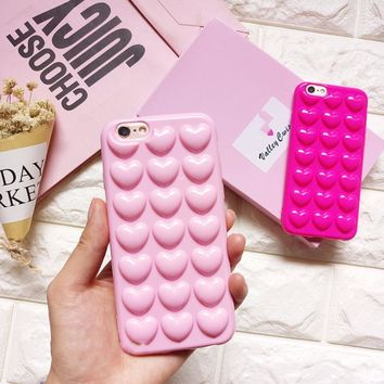 HOT 3D Heart Shaped Pink Candy Color iPhone 7,  7 Plus Case