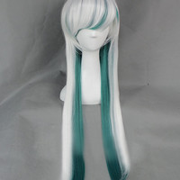 Unique New Ariival Long Green and White Janpan Harajuku Cosplay Wig