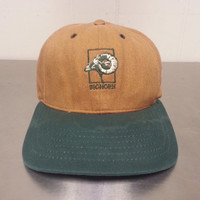Vintage 90's Big Horn Golf Course Strapback Dad Hat Tourist Cap Khaki Dark Brown and Green Color Golf Cap Club