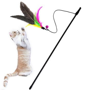New Qualified Kitten Cat Teaser Interactive Toy Rod with Bell and Feather Levert Dropship D615