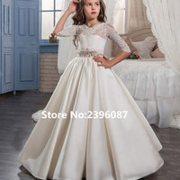 Ivory Satin with Bow Ball Gown Princess Flower Girl Dresses Half Sleeve O-Neck First Communion Dress Vestidos de comunion 2017