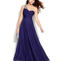 Xscape One-Shoulder Embellished Cutout Gown