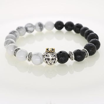 Natural Stones Vintage Lion Charm Bracelet Trendy Handmade Design Men's Fashion Bracelets & Bangle Women's Jewelry Drop Shipping