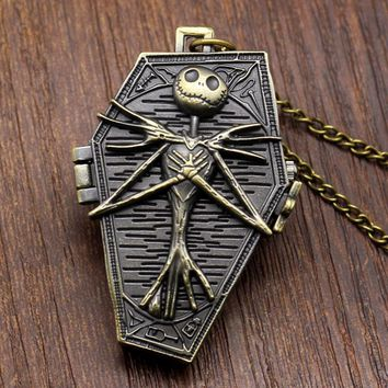 Free Postage Bronze The Nightmare Before Christmas Coffin Quartz Pocket Fob Watch With Chain Necklace Exquisite Pocket watches