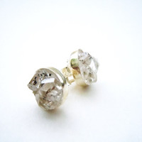 Herkimer Diamond Stud Earrings - Natural Gemstones - Raw Crystal Earrings