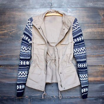 khaki cargo jacket with aztec pattern knit sleeves