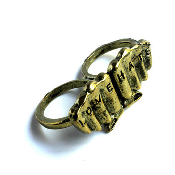 """Love No Hate"" Gold Two Finger Ring"