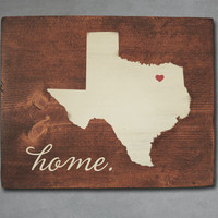 Texas State Wood Art. Personalized Home Decor Wall Art