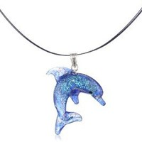 Sterling Silver Dichroic Glass Blue Dolphin Lampwork Pendant Necklace on Stainless Steel Wire, 18""