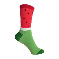Watermelon Crew Socks in Red and Green