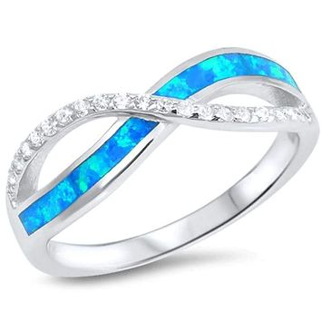 Blue Lab Opal and Clear Cubic Zirconia Stones Twisted Infinity Sterling Silver Ring