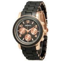 Black Rose Gold Chronograph Look Analog Watch
