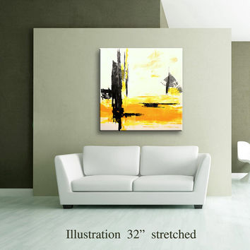 "36"" Yellow Gray Black Original Square Abstract Painting on Canvas Wall Art Home Decor Wall Hanging Unstretched AU32"