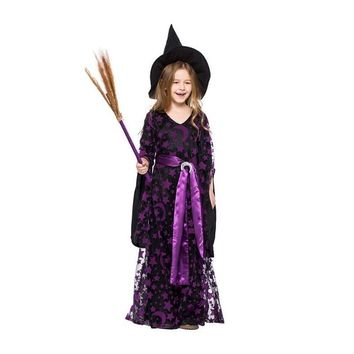 Cool Halloween Witch Costume Magic Girl's Cosplay Purple Dress Festival Party Wear Role Playing Children Fancy DressAT_93_12
