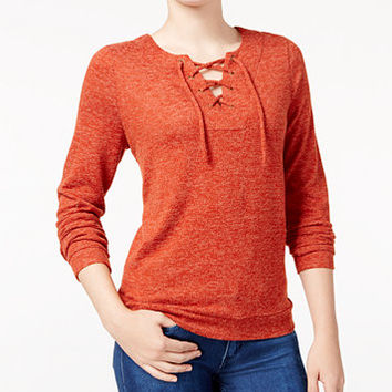 Hippie Rose Juniors' Lace-Up Marled Knit Top   macys.com