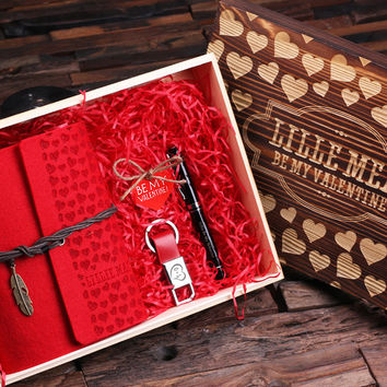 Personalized Valentines Day 4pc Gift Set Journal Pen and Key Chain with Wood Gift Box