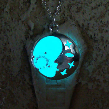 GLOW in the DARK Necklace - New Moon, Glowing Blue Pendant, Glow Necklace, Glow in the Dark Moon, Glowing Jewelry, Glowing Moon and Stars