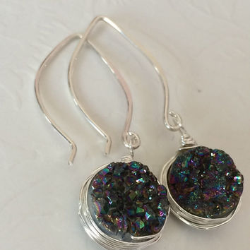 Rainbow mystic druzy earring - sterling silver druzy earring - bridesmaid gift - druzy quartz dangle earring.