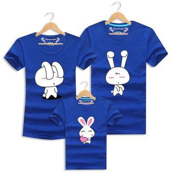 ONETOW Lovely Rabbit T Shirts Family Clothing Family Look Clothes Soft Cotton Tops Tees Matching Mother Father Daughter Son Clothes Set
