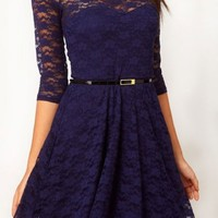 Ostart Sexy Lady Lace 3/4 Sleeve One-piece Dress (6, Dark Blue)