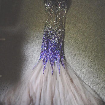 Purple and Silver Sequined Formal Dress