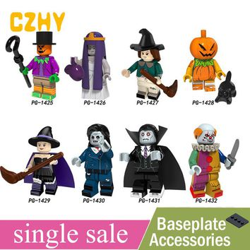 Single Sale Halloween scarecrow Wedding ghost Witch Pumpkin man Zombie Minifigured Building Blocks Learning Toy Children PG8171