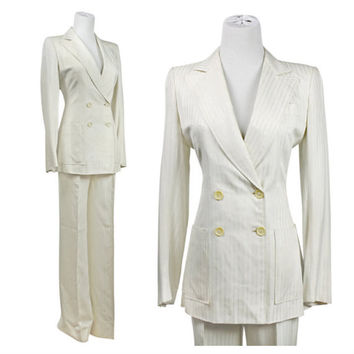 70s suit / vintage 1970s white suit / tuxedo jacket / raw silk / pinstripe / Yves St. Tropez / made in France / XS