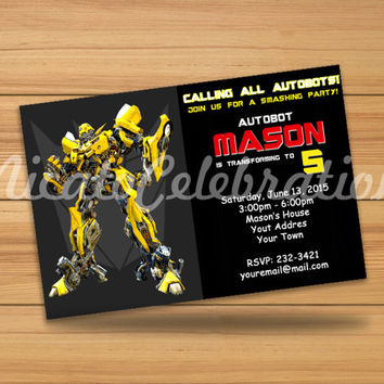 Transformers Bumblebee Inspired Design Invitaion - Digital File