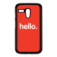 Hello Black Hard Plastic Case for Moto G by textGuy