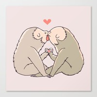 Sloth Kisses Canvas Print by Huebucket