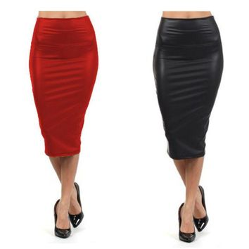 High Waist Soft Leather Pencil Party Skirts