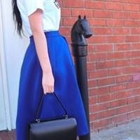 Royal Blue Pleated A Line Flare Ball Gown Midi Skirt