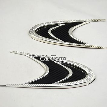 free shipping 2pcs car styling New Arrive Car Auto Racing Air Flow Fender Mesh Black Side Decoration Vent Sticker 3M Tape
