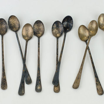 Tall Silver Spoons Set of Nine Plated Nickel Made in England