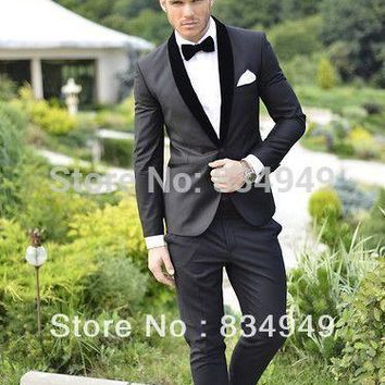 Groom Wear Slim-Fit Groom Suit Black Groom Tuxedo, Custom Made Wedding Suits For Men,Mens Suits Wedding Groom 2016, Prom Suit