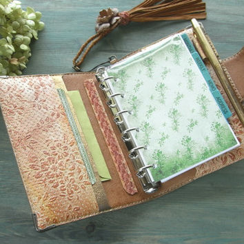 handstitched leather binder - rustic flower journal, vintage lace, hand colored, romantic diary, floral planner, leather organizer, agenda