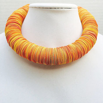 Paper necklace, Orange and yellow, Spring jewelry, First Anniversary, Paper jewelry, Colorful, Bold Statement necklace, upcycled jewelry