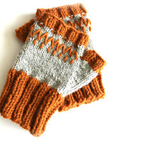 Knit fingerless mittens, burnt orange and grey, wool mittens